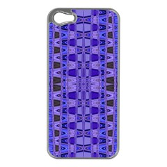Blue Black Geometric Pattern Apple Iphone 5 Case (silver) by BrightVibesDesign