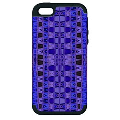 Blue Black Geometric Pattern Apple Iphone 5 Hardshell Case (pc+silicone) by BrightVibesDesign