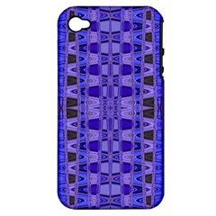 Blue Black Geometric Pattern Apple Iphone 4/4s Hardshell Case (pc+silicone) by BrightVibesDesign