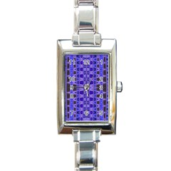 Blue Black Geometric Pattern Rectangle Italian Charm Watch