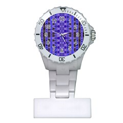 Blue Black Geometric Pattern Plastic Nurses Watch
