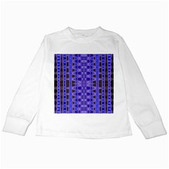 Blue Black Geometric Pattern Kids Long Sleeve T Shirts