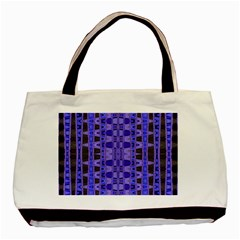 Blue Black Geometric Pattern Basic Tote Bag (two Sides) by BrightVibesDesign