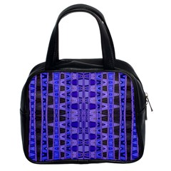 Blue Black Geometric Pattern Classic Handbags (2 Sides)