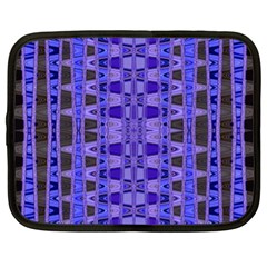 Blue Black Geometric Pattern Netbook Case (xl)  by BrightVibesDesign