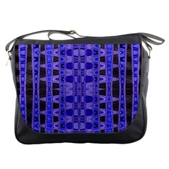 Blue Black Geometric Pattern Messenger Bags by BrightVibesDesign