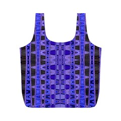 Blue Black Geometric Pattern Full Print Recycle Bags (m)  by BrightVibesDesign