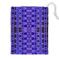 Blue Black Geometric Pattern Drawstring Pouches (xxl) by BrightVibesDesign