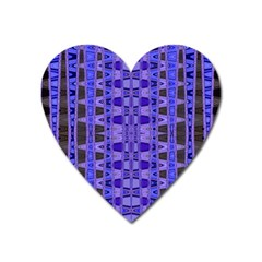 Blue Black Geometric Pattern Heart Magnet by BrightVibesDesign