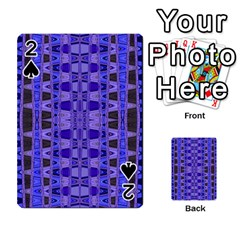 Blue Black Geometric Pattern Playing Cards 54 Designs  by BrightVibesDesign