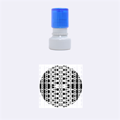 Blue Black Geometric Pattern Rubber Round Stamps (small) by BrightVibesDesign