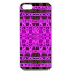 Bright Pink Black Geometric Pattern Apple Seamless Iphone 5 Case (clear)