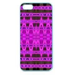 Bright Pink Black Geometric Pattern Apple Seamless Iphone 5 Case (color)