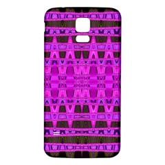 Bright Pink Black Geometric Pattern Samsung Galaxy S5 Back Case (white) by BrightVibesDesign