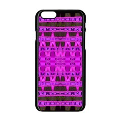 Bright Pink Black Geometric Pattern Apple Iphone 6/6s Black Enamel Case by BrightVibesDesign