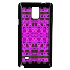 Bright Pink Black Geometric Pattern Samsung Galaxy Note 4 Case (black) by BrightVibesDesign