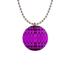 Bright Pink Black Geometric Pattern Button Necklaces by BrightVibesDesign