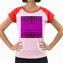 Bright Pink Black Geometric Pattern Women s Cap Sleeve T Shirt