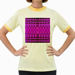 Bright Pink Black Geometric Pattern Women s Fitted Ringer T Shirts