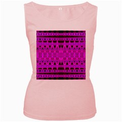 Bright Pink Black Geometric Pattern Women s Pink Tank Top