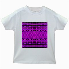 Bright Pink Black Geometric Pattern Kids White T Shirts