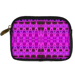Bright Pink Black Geometric Pattern Digital Camera Cases by BrightVibesDesign