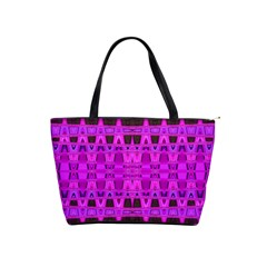 Bright Pink Black Geometric Pattern Shoulder Handbags by BrightVibesDesign