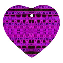 Bright Pink Black Geometric Pattern Ornament (heart)  by BrightVibesDesign