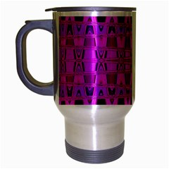 Bright Pink Black Geometric Pattern Travel Mug (silver Gray) by BrightVibesDesign