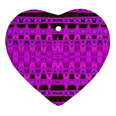 Bright Pink Black Geometric Pattern Heart Ornament (2 Sides) by BrightVibesDesign