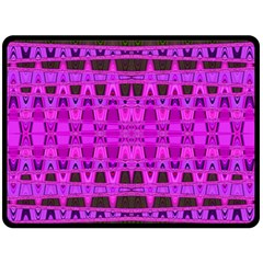 Bright Pink Black Geometric Pattern Fleece Blanket (large)
