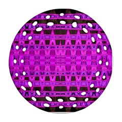 Bright Pink Black Geometric Pattern Round Filigree Ornament (2side) by BrightVibesDesign