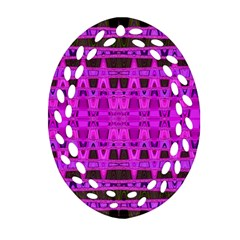 Bright Pink Black Geometric Pattern Ornament (oval Filigree)