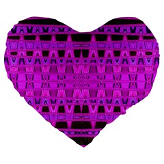 Bright Pink Black Geometric Pattern Large 19  Premium Heart Shape Cushions