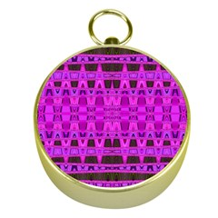 Bright Pink Black Geometric Pattern Gold Compasses