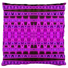 Bright Pink Black Geometric Pattern Large Flano Cushion Case (one Side)