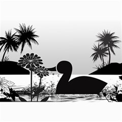 Duck Sihouette Romance Black & White Collage 12  X 18  by TastefulDesigns