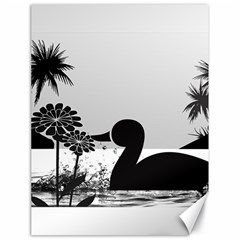 Duck Sihouette Romance Black & White Canvas 18  X 24   by TastefulDesigns