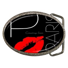Greetings From Paris Red Lipstick Kiss Black Postcard Belt Buckles by yoursparklingshop