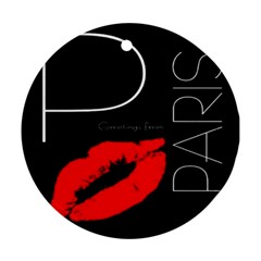 Greetings From Paris Red Lipstick Kiss Black Postcard Ornament (round)  by yoursparklingshop