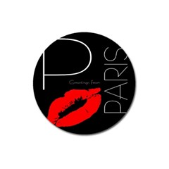 Greetings From Paris Red Lipstick Kiss Black Postcard Magnet 3  (round) by yoursparklingshop