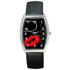 Greetings From Paris Red Lipstick Kiss Black Postcard Barrel Style Metal Watch by yoursparklingshop