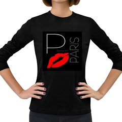 Greetings From Paris Red Lipstick Kiss Black Postcard Women s Long Sleeve Dark T-shirts by yoursparklingshop