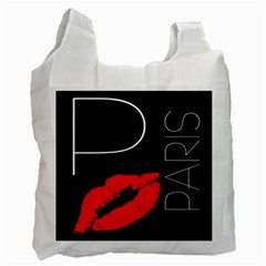 Greetings From Paris Red Lipstick Kiss Black Postcard Recycle Bag (one Side) by yoursparklingshop