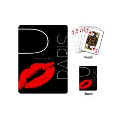 Greetings From Paris Red Lipstick Kiss Black Postcard Playing Cards (mini)  by yoursparklingshop