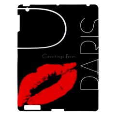 Greetings From Paris Red Lipstick Kiss Black Postcard Apple Ipad 3/4 Hardshell Case by yoursparklingshop
