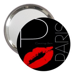 Greetings From Paris Red Lipstick Kiss Black Postcard 3  Handbag Mirrors by yoursparklingshop