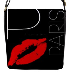 Greetings From Paris Red Lipstick Kiss Black Postcard Flap Messenger Bag (s) by yoursparklingshop