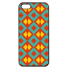 Blue Rhombus Pattern                			apple Iphone 5 Seamless Case (black) by LalyLauraFLM