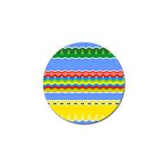 Colorful Chevrons And Waves                 			golf Ball Marker (4 Pack) by LalyLauraFLM